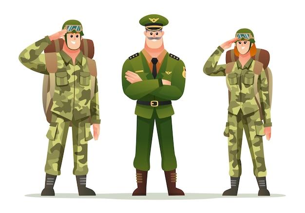 バックパックの文字セットを運ぶ男と女の兵士と陸軍大尉