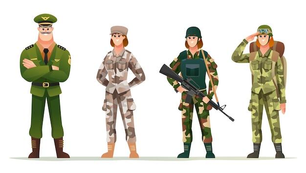 さまざまなカモフラージュの制服のキャラクターセットで女性兵士と陸軍大尉
