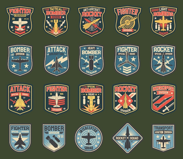 Army chevrons, stripes for fighter squadron, tactical, heavy and light bomber division, anti-aircraft rocket.