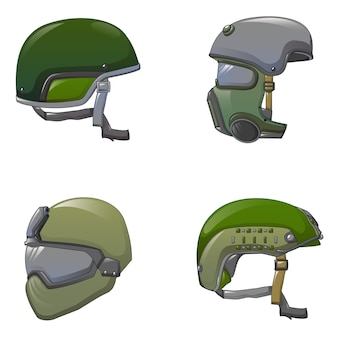 Army helmet soldier icon set