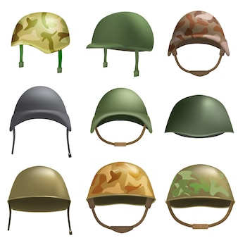 Army helmet soldier military hat mockup set. flat illustration of 9 army helmet soldier military hat vector mockups for web