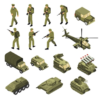 Army isometric icon set