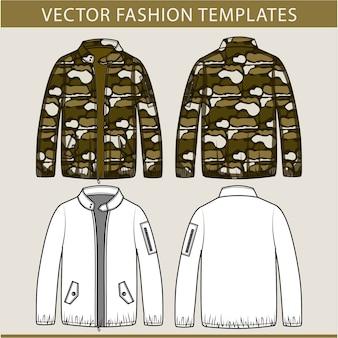 アーミージャケットファッションフラットスケッチテンプレート