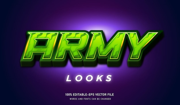 Army looks text effect and editable font