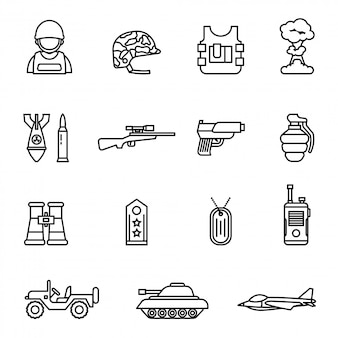 Army and military icon set with.