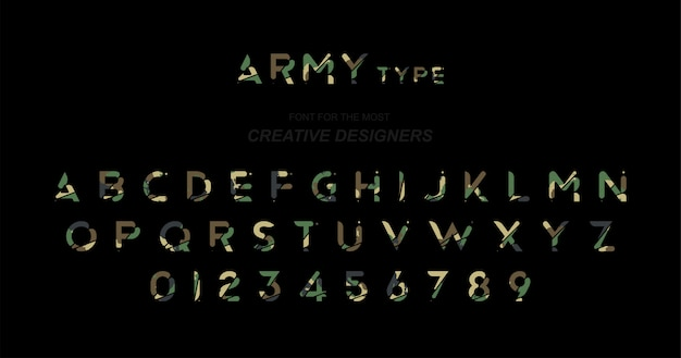 Army original font a set of letters and numbers in camouflage