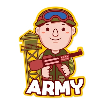 Army profession mascot logo vector in cartoon style