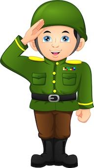 Армейский солдат мальчик позирует