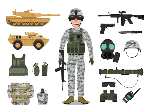 Army soldier character with military vehicle