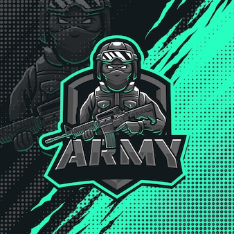 Army soldier mascot logo design illustration