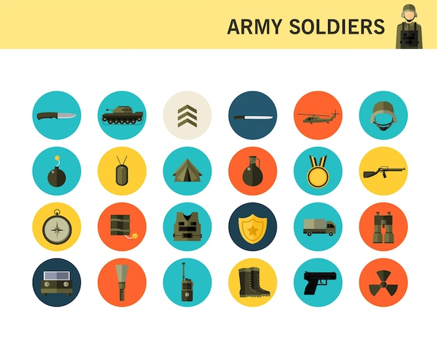 Army soldiers concept flat icons.
