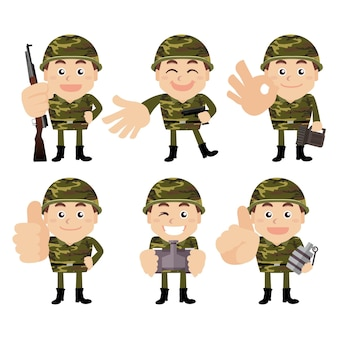 Army soldiers in different poses