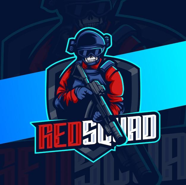 Армейский отряд талисман киберспорт дизайн логотипа