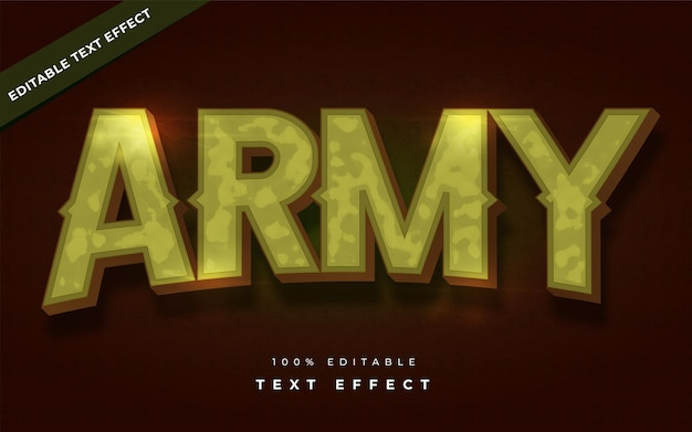 Army text effect editable for illustrator