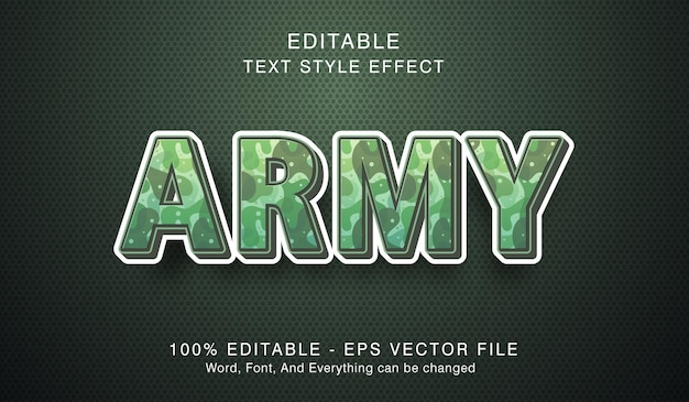 Армейский текст на эффекте современного стиля, редактируемый текстовый эффект