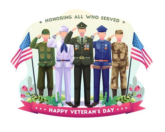 다양한 군대의 퇴역 군인이 재향 군인의 날 일러스트레이션을 경례하고 기념하고 있습니다