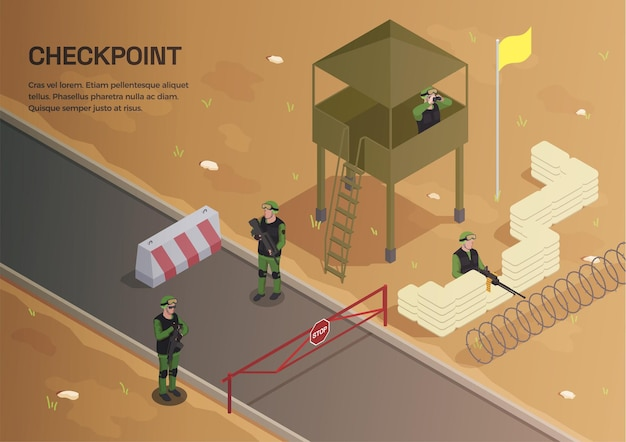 Army weapons soldier isometric background with composition of editable text and outdoor scenery with watch tower