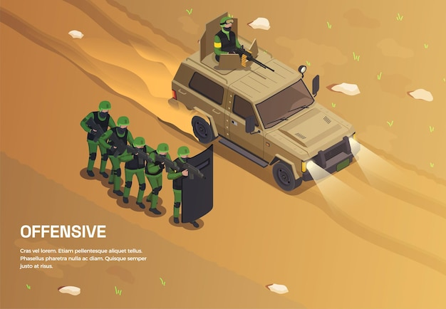 Army weapons soldier isometric background with editable text and outdoor composition with group of special forces