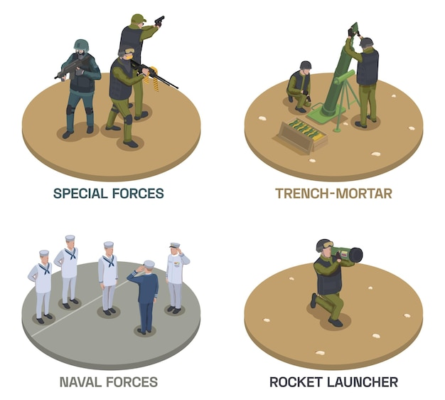 Army weapons soldier isometric compositions set with text and human characters of armed people with guns