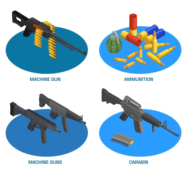 Army weapons soldier isometric set of compositions with text and machine guns carabins with ammunition items