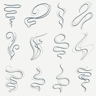 Поток ароматной и дымовой линии, набор линейных трасс smell