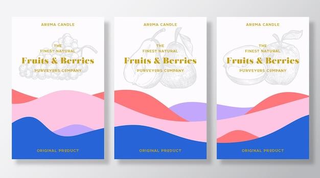 아로마 캔들 라벨 템플릿 번들. 현지 납품업자의 과일과 열매 향기가 광고됩니다.