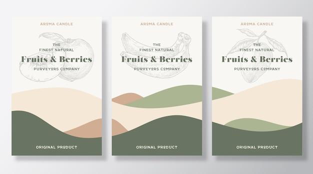 アロマキャンドルラベルテンプレートコレクション。地元の業者からの果物とベリーの香り広告デザイン抽象的な波の装飾が施されたスケッチの背景レイアウト自然な香りの製品パッケージテキストスペース