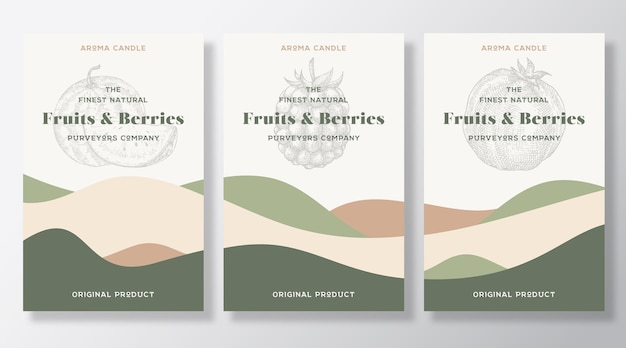 アロマキャンドルラベルテンプレートセット。地元の業者からの果物やベリーの香りがデザインを宣伝しています。抽象的な波の装飾で背景のレイアウトをスケッチします。自然な香りの商品パッケージテキストスペース