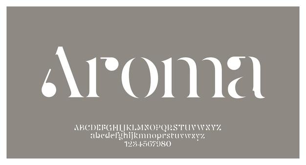 「アロマ」エレガントで素晴らしいアルファベットのフォントと数字。クラシックなレタリングの最小限のファッションデザイン。タイポグラフィフォントは通常大文字と小文字です。