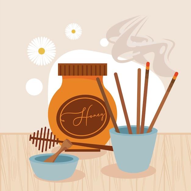 아로마 테라피 양초와 꿀