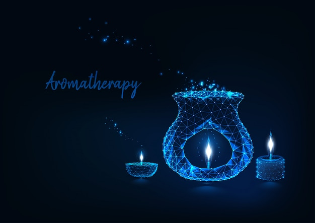 Aromatherapy concept with glowing low polygonal aroma lamp