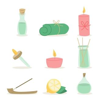 Collezione di elementi di aromaterapia disegnata a mano