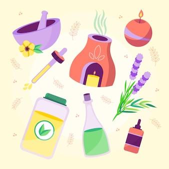 Raccolta di illustrazioni di elementi di aromaterapia