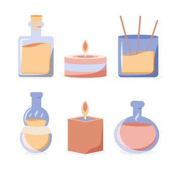 Набор иллюстраций элемента ароматерапии