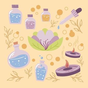 Пакет элементов ароматерапии рисованной