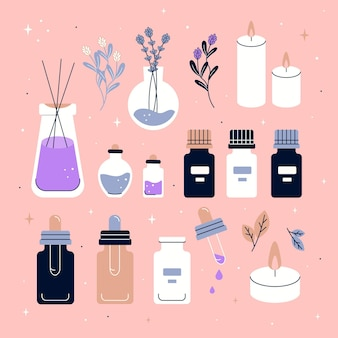 Aromatherapy element set hand drawn
