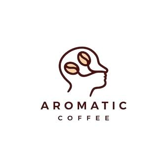 Ароматный кофе логотип вектор значок иллюстрации