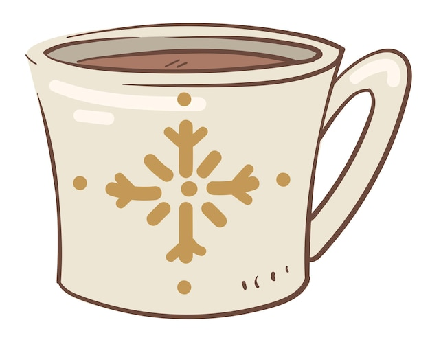 향기로운 커피나 차를 눈송이 무늬가 있는 컵에 붓습니다. 뜨거운 음료와 함께 격리 된 찻잔입니다. 계피와 허브 또는 카페인을 곁들인 맛있는 음료. 새 해와 크리스마스 시간입니다. 평면 스타일의 벡터