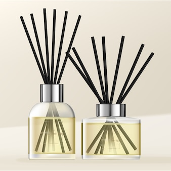 Aromatic diffuser with pastel yellow scented oil & black reeds