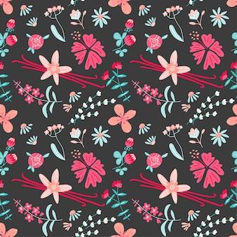 Aromatic flower tea seamless pattern with vanilla