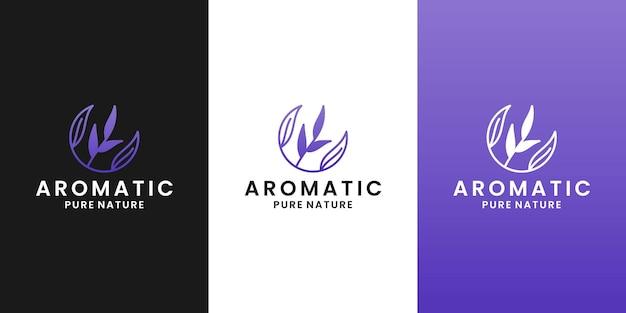 Шаблон дизайна логотипа ароматная лаванда, для терапии здоровья