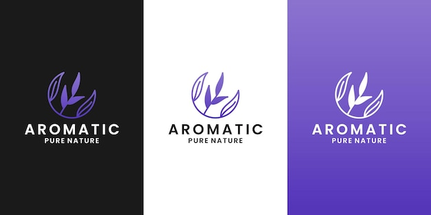 Aromatic lavender logo design template, for therapy health