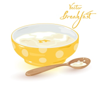 Aromatic portion of semolina with butter and honey served with spoon