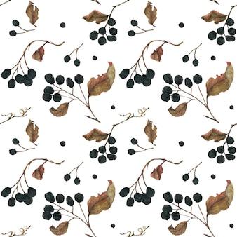 アロニアの枝。乾燥果実と葉のシームレスパターン