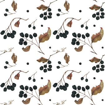 Aronia branches. dried berries and leaves  seamless pattern