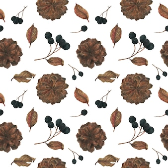 Aronia and pine cones for christmas seamless pattern