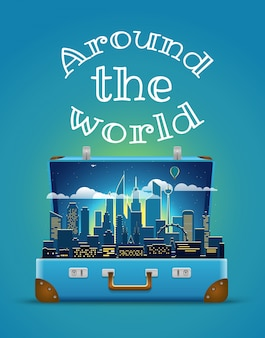 Во всем мире концепция. современная городская ночная сцена