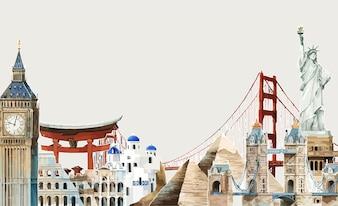 Around the world watercolor illustration