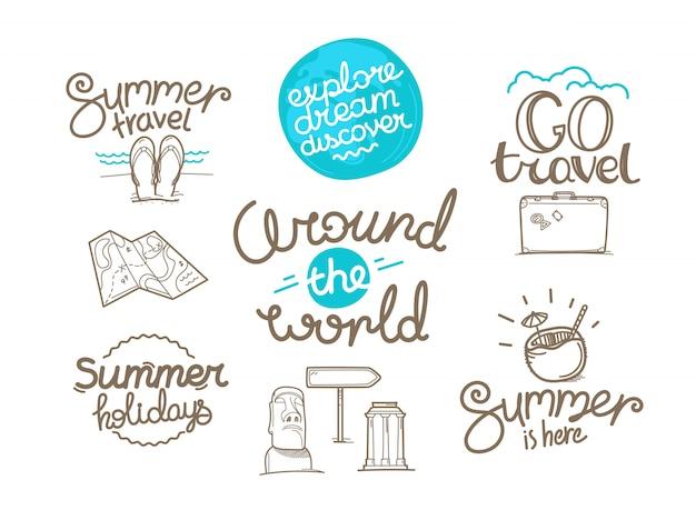 Around the world doodle style isolated