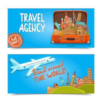 Around the world travel agency horizontal banners